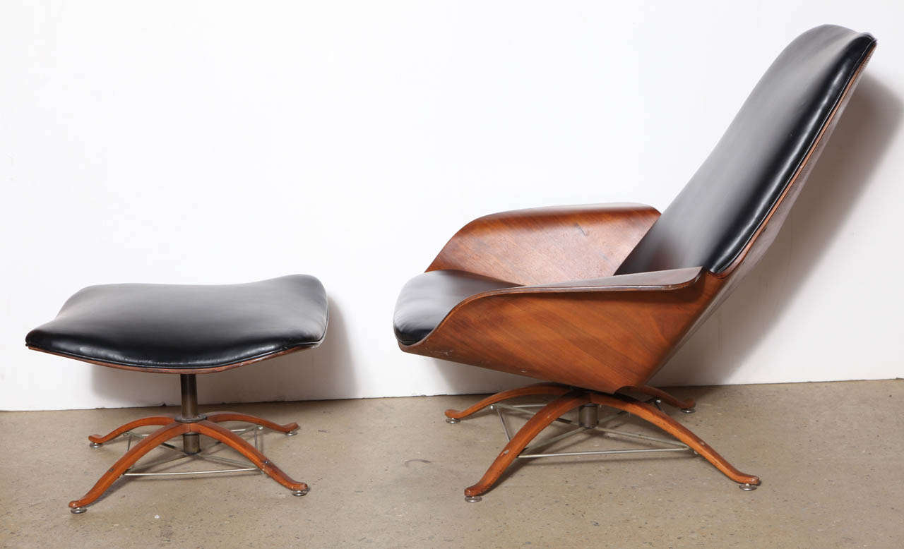 Early George Mulhauser Lounge Chair And Ottoman At 1stdibs