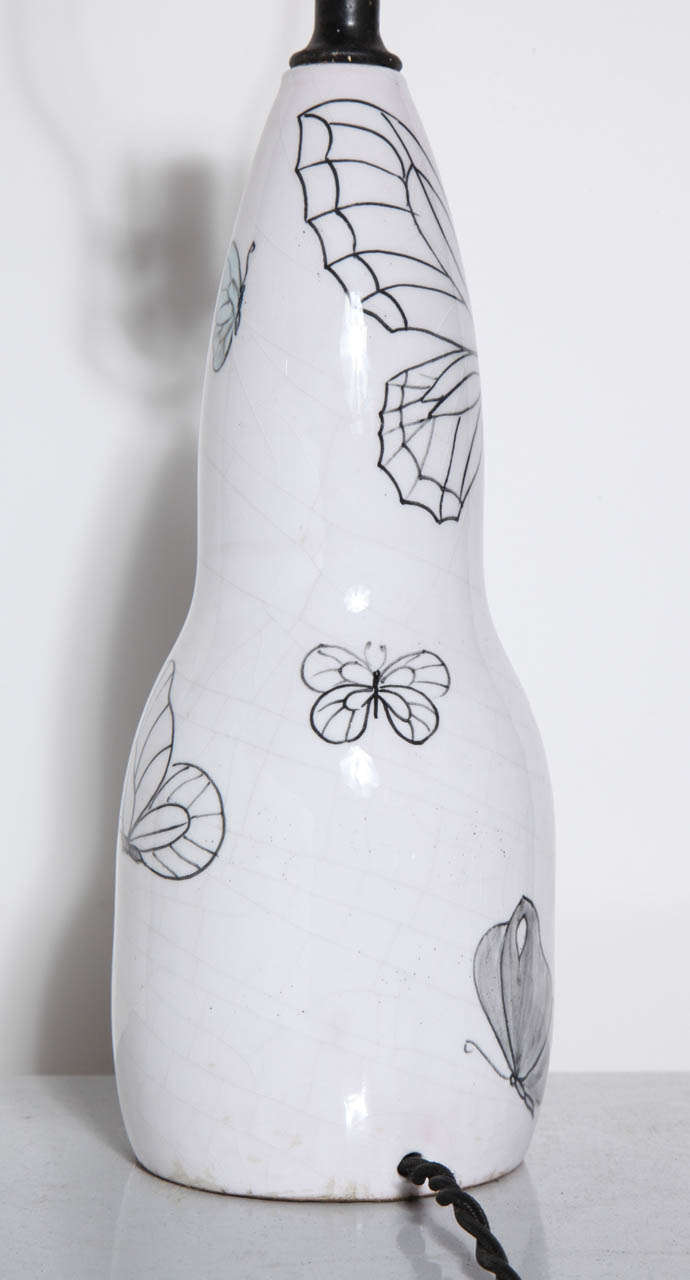 Mid-20th Century Ernestine of Salerno White Majolica Lamp with Black line Butterflies, 1940's  For Sale