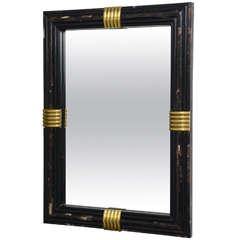 Exceptional Karl Springer Style Tessellated Bone & Brass Mirror
