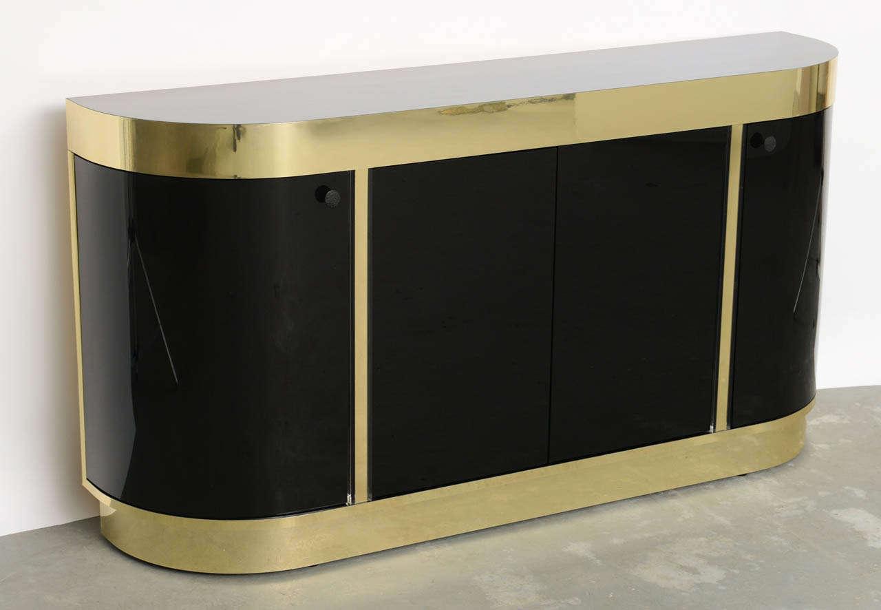 American Modern Demilune Brass & Black Lucite Console For Sale