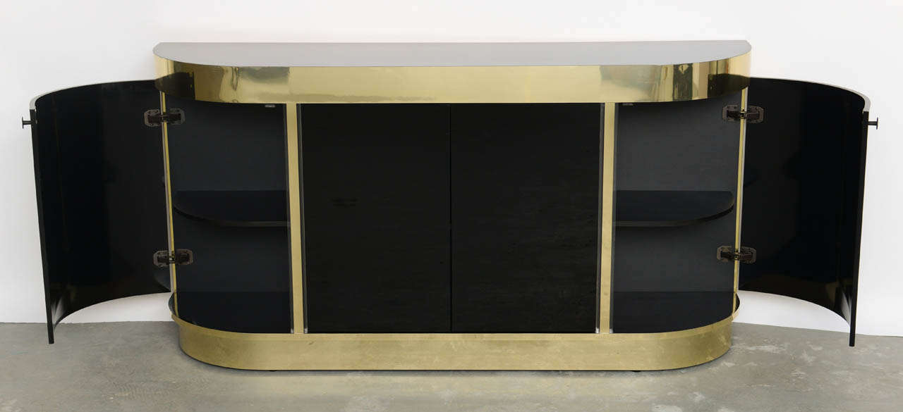 Modern Demilune Brass & Black Lucite Console In Excellent Condition For Sale In Miami, FL