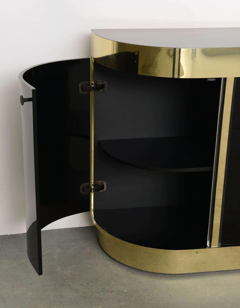 20th Century Modern Demilune Brass & Black Lucite Console For Sale