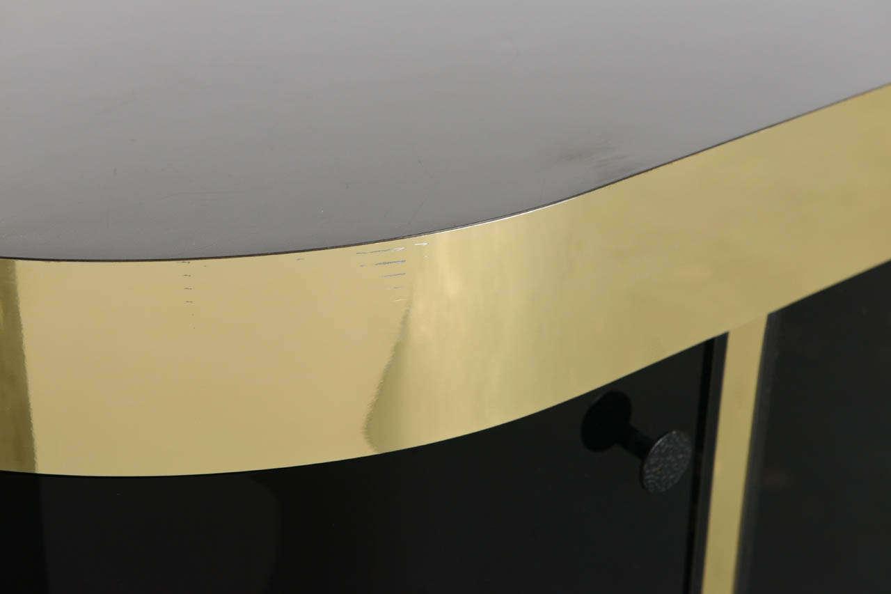 Laminate Modern Demilune Brass & Black Lucite Console For Sale
