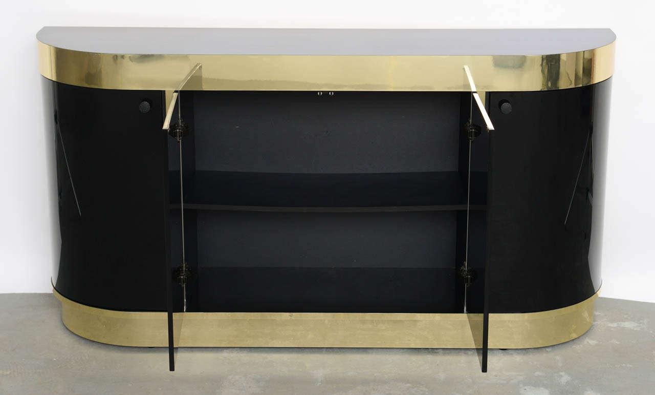 Modern Demilune Brass & Black Lucite Console For Sale 1