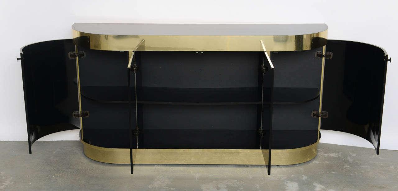 Modern Demilune Brass & Black Lucite Console For Sale 2