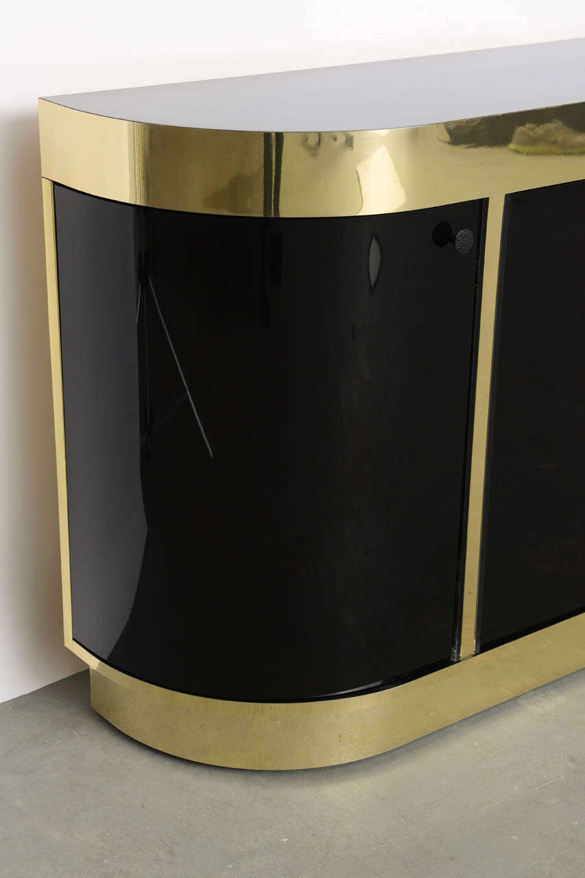Modern Demilune Brass & Black Lucite Console For Sale 3