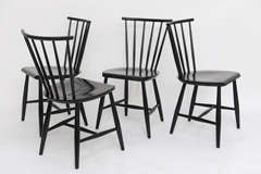 Four 1950s Swedish Windsor Style Spindle Back Dining Chairs image 2
