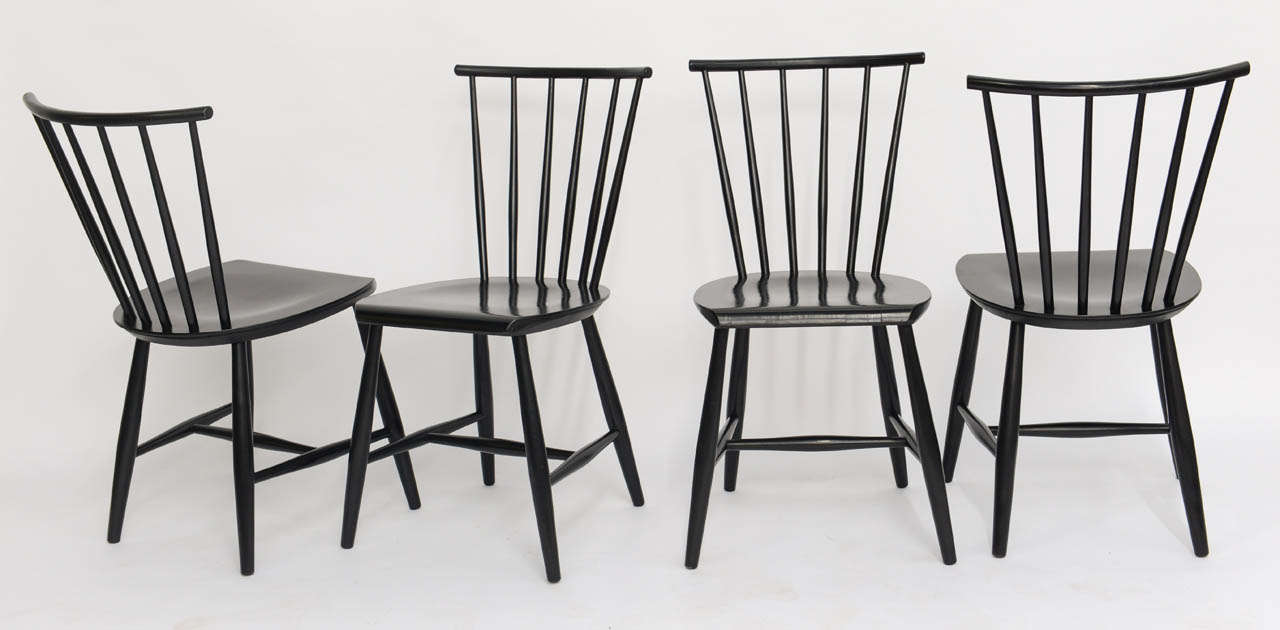 Four 1950s Swedish Windsor Style Spindle Back Dining Chairs In Good Condition For Sale In Miami, FL