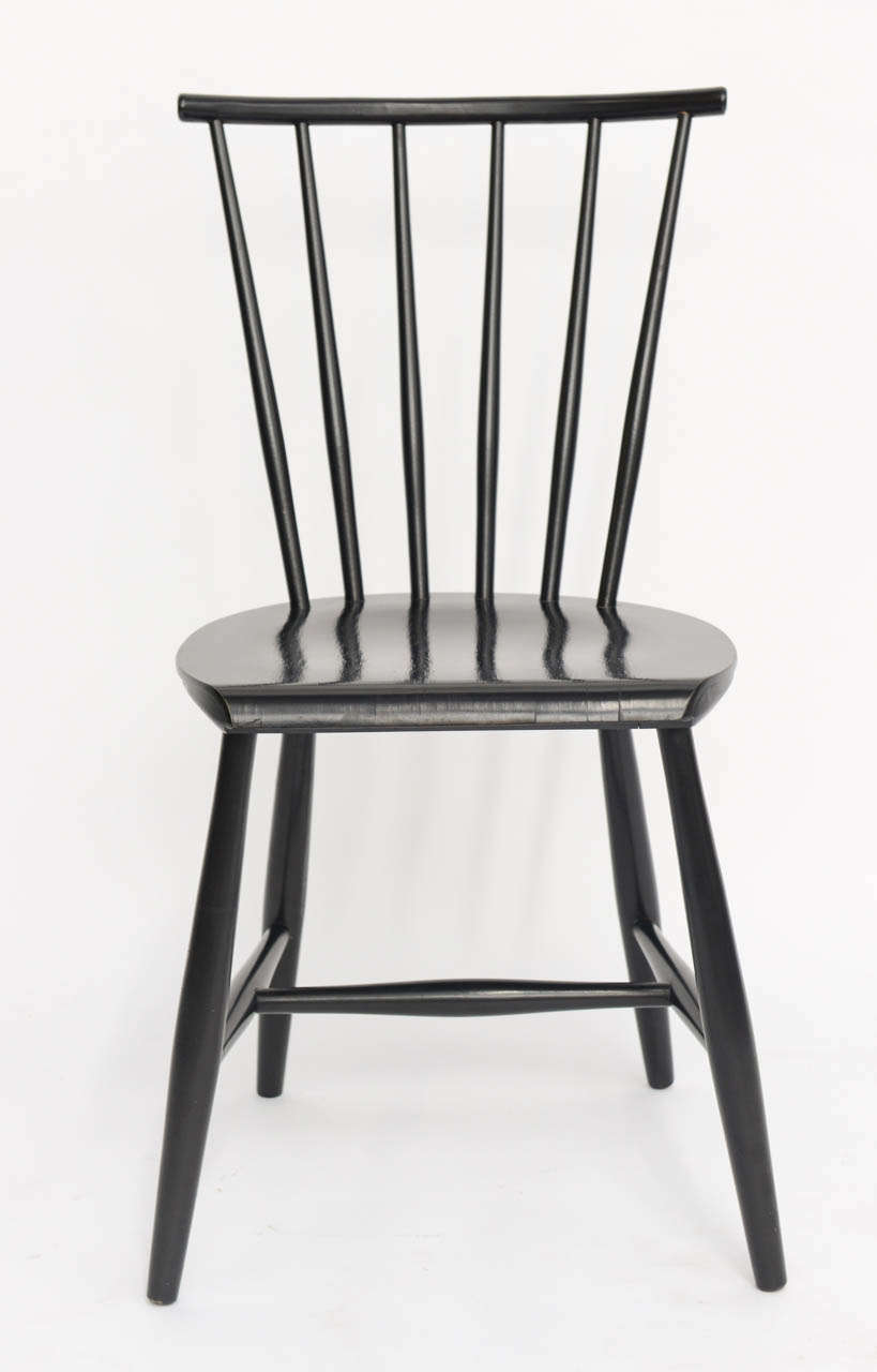 Mid-20th Century Four 1950s Swedish Windsor Style Spindle Back Dining Chairs For Sale