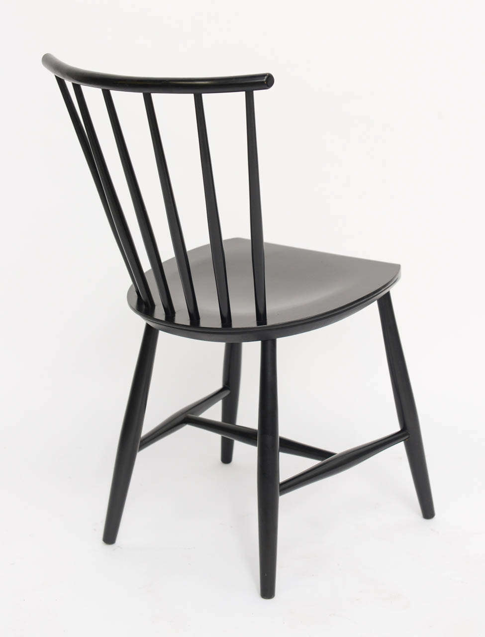 Four 1950s Swedish Windsor Style Spindle Back Dining Chairs For Sale 3