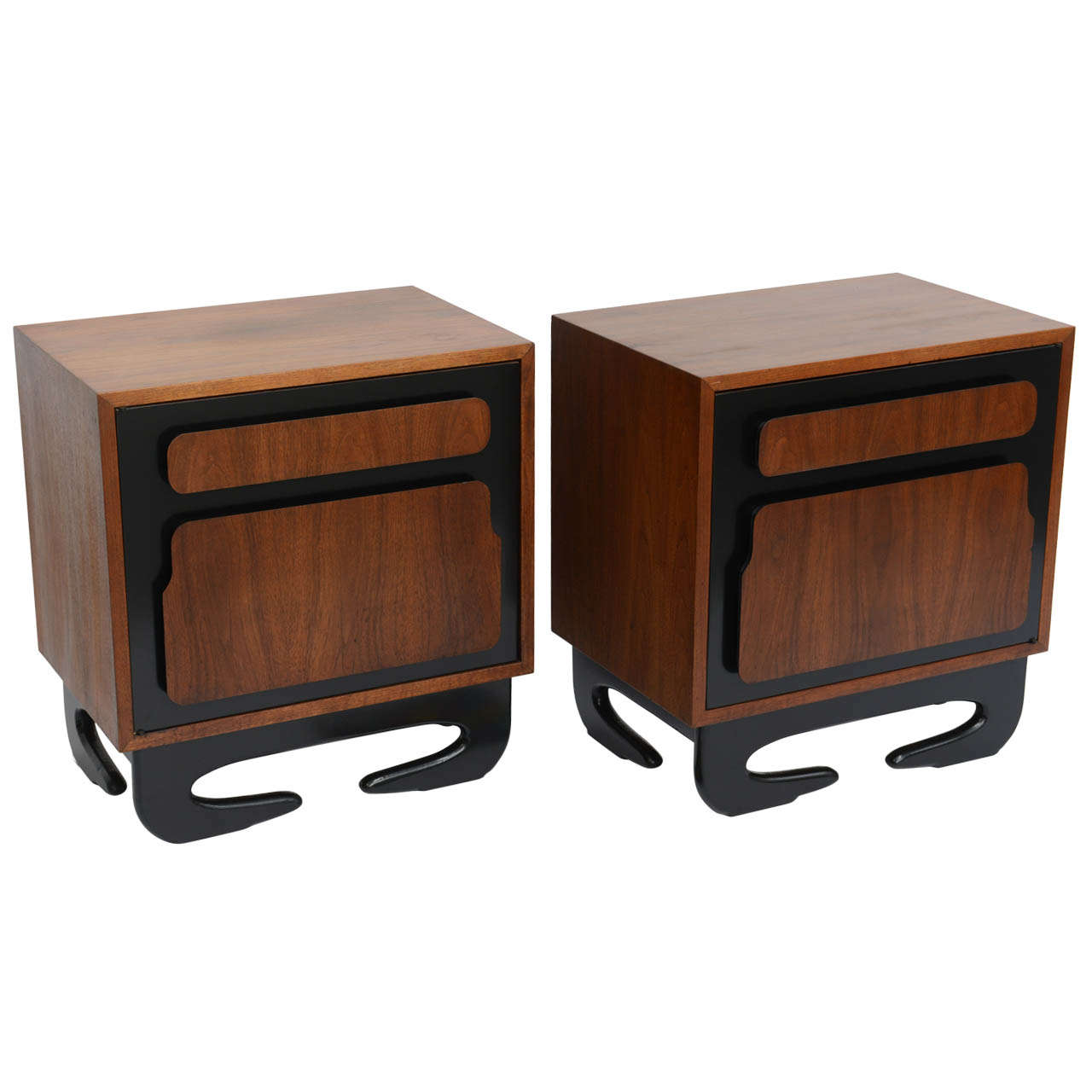 Extraordinary Kagan Style Bedside Tables Nightstands For Sale at