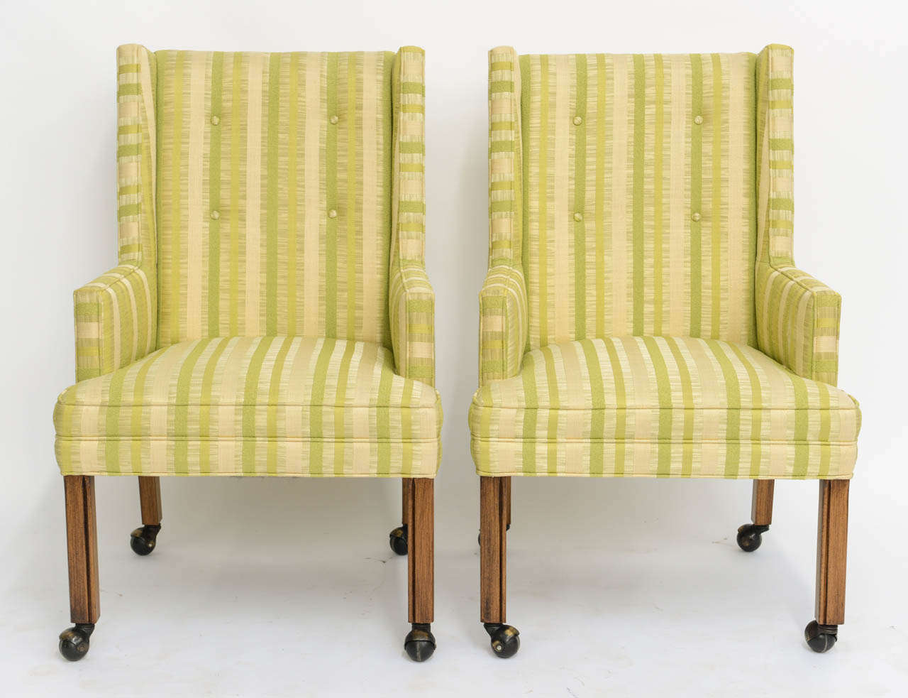 Pair of Tailored Edward Wormley Style High Back Armchairs 2
