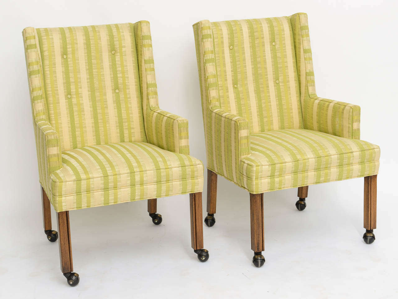 Pair of Tailored Edward Wormley Style High Back Armchairs 3