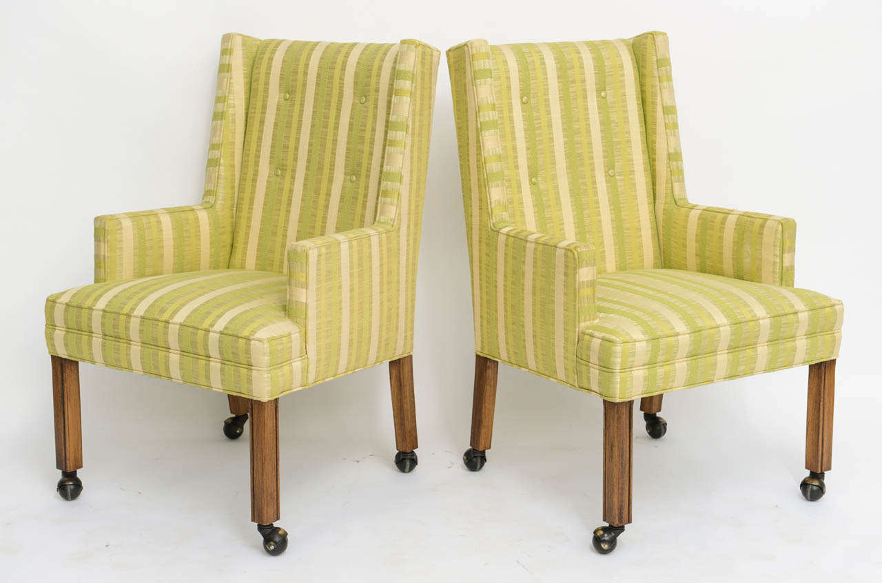 Pair of Tailored Edward Wormley Style High Back Armchairs 4
