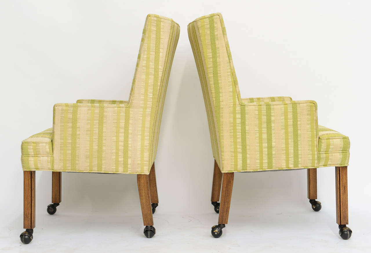 Pair of Tailored Edward Wormley Style High Back Armchairs 5