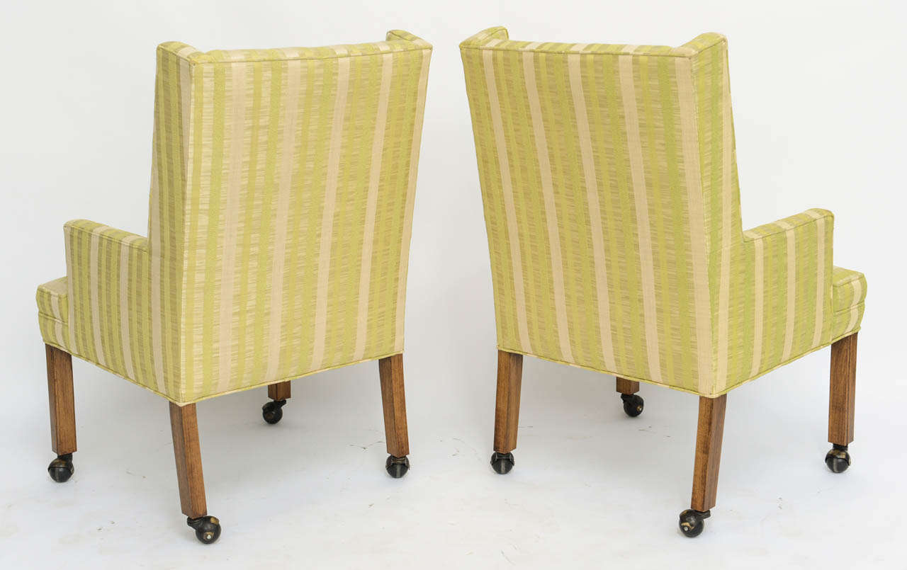 Pair of Tailored Edward Wormley Style High Back Armchairs 6