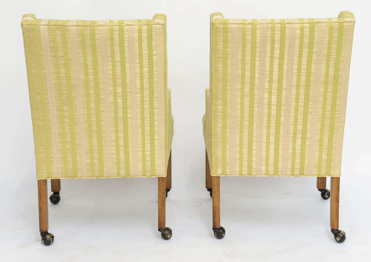 Pair of Tailored Edward Wormley Style High Back Armchairs 7