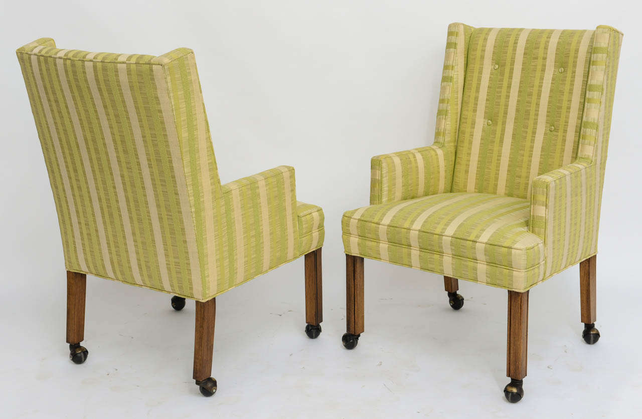 Pair of Tailored Edward Wormley Style High Back Armchairs 8