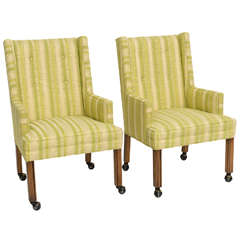 Pair of Tailored Edward Wormley Style High Back Armchairs