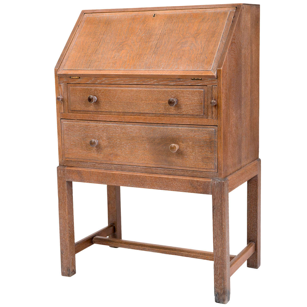 Heals And Son Limed Oak Fold Down Bureau England Circa 1930 For