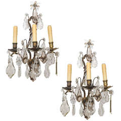 Pair of 19th Century Bronze and Crystal Sconces