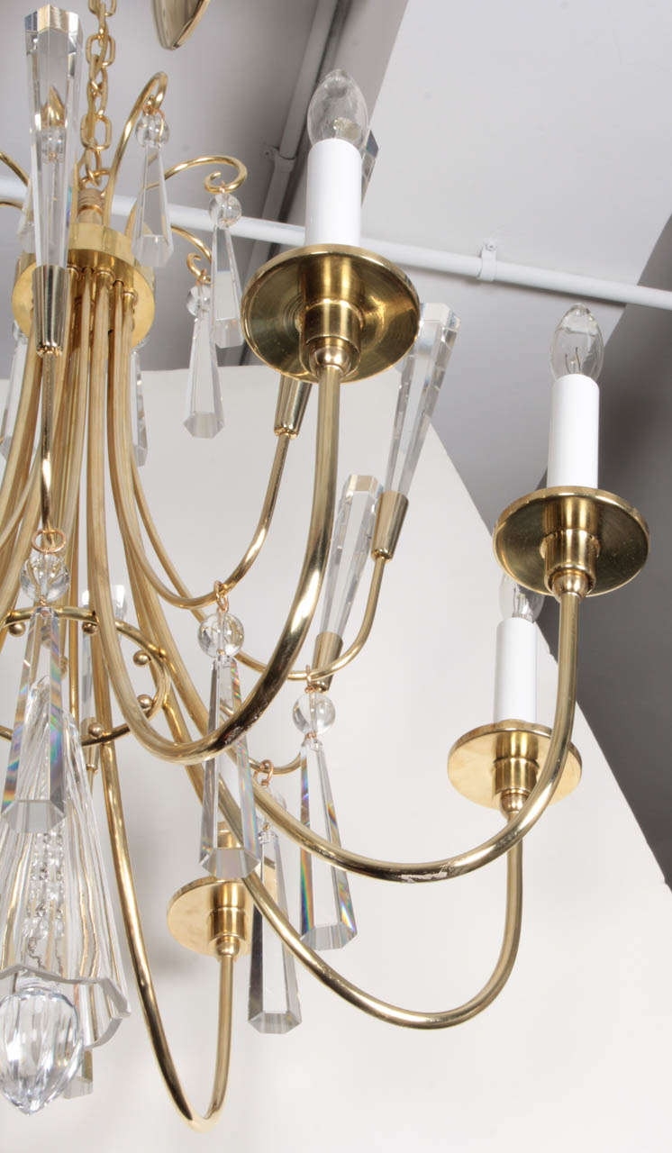 Parzinger Style Brass and Crystal Chandelier 3