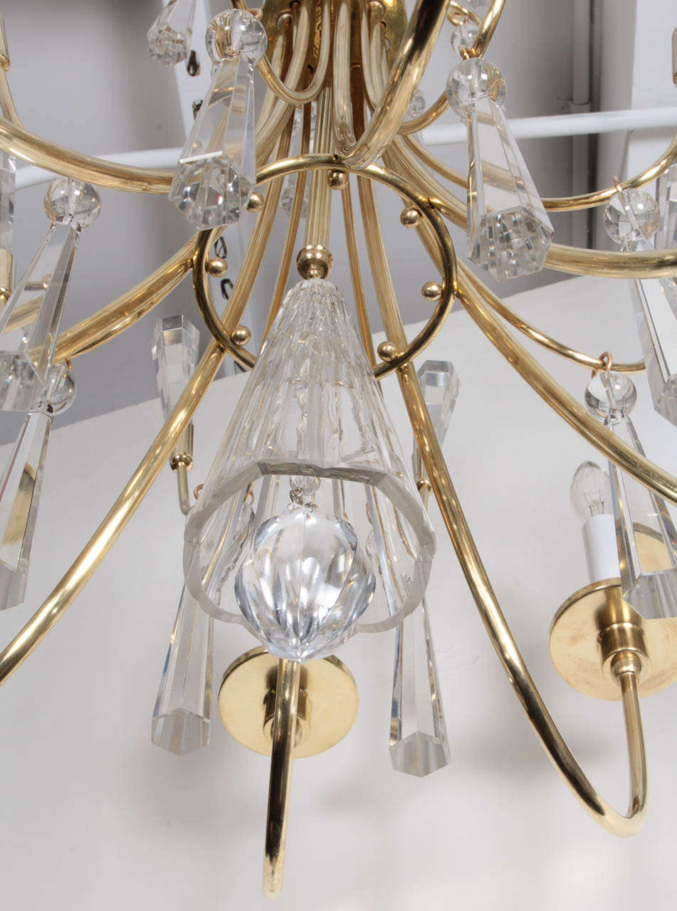 Parzinger Style Brass and Crystal Chandelier 4
