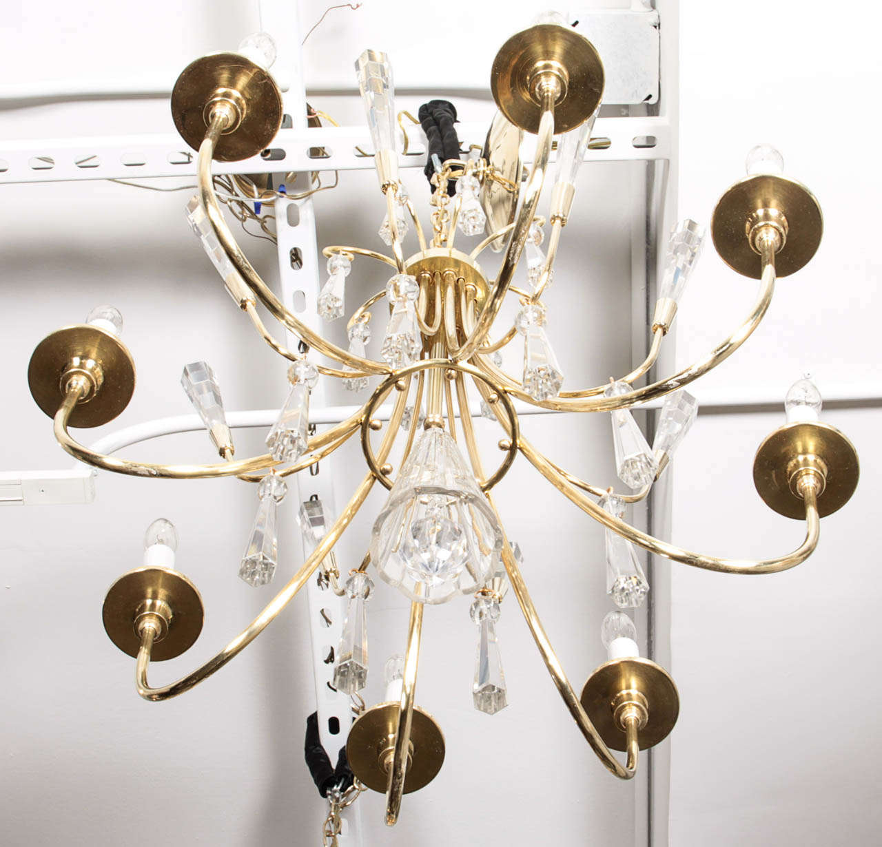 Parzinger Style Brass and Crystal Chandelier 5