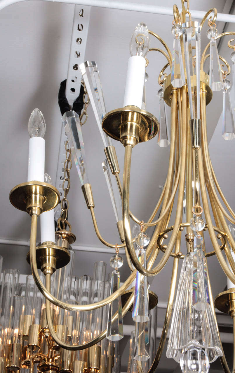 Parzinger Style Brass and Crystal Chandelier 6