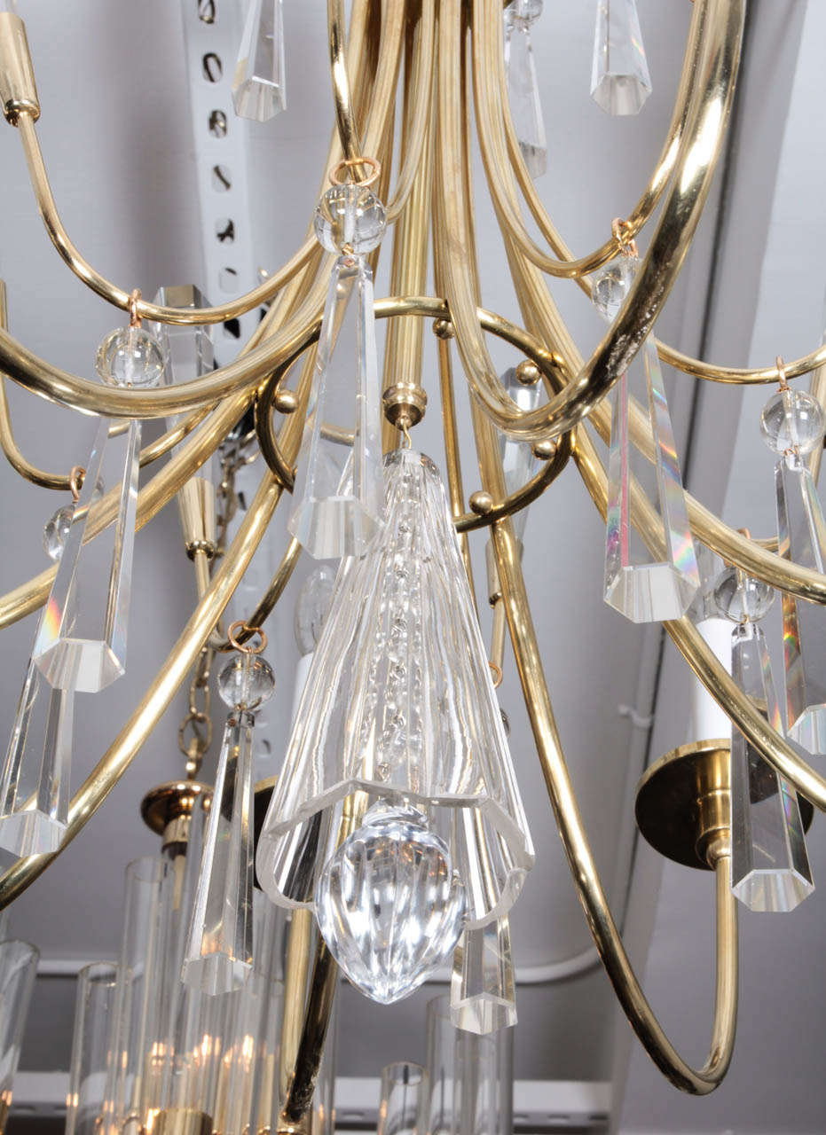 Parzinger Style Brass and Crystal Chandelier 8