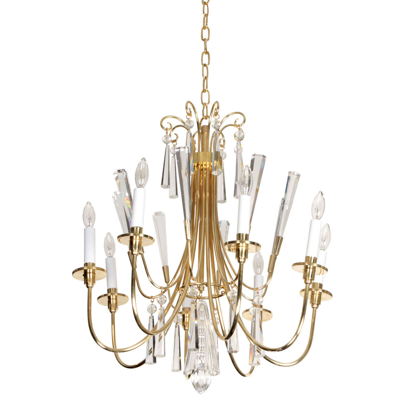 Parzinger Style Brass and Crystal Chandelier 1