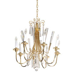 Parzinger Style Brass and Crystal Chandelier