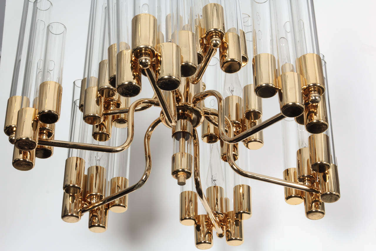 Mid-Century Modern Mid Century 9 Arm Brass & Glass Tube Chandelier by Hans Agne Jakobsson For Sale