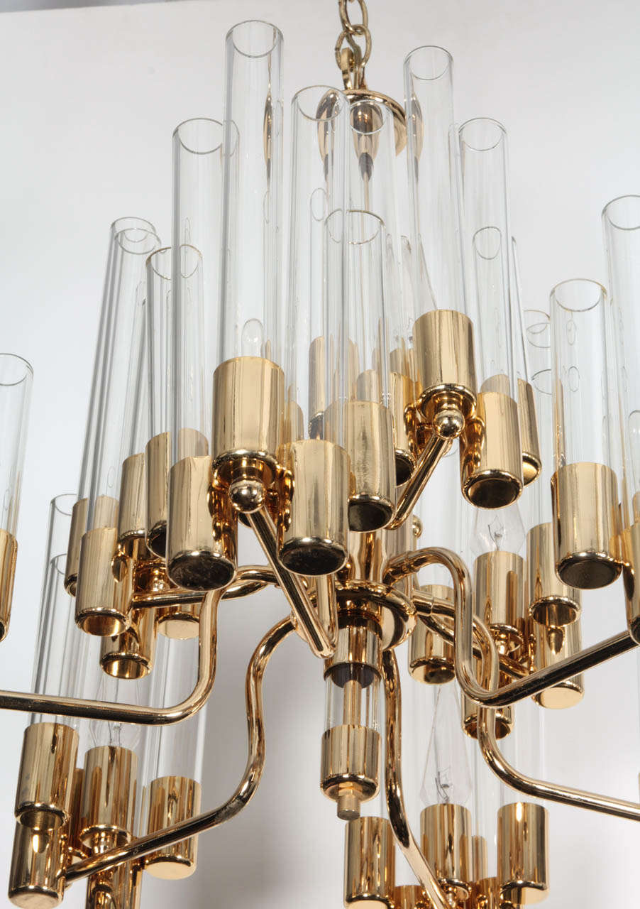 Swedish Mid Century 9 Arm Brass & Glass Tube Chandelier by Hans Agne Jakobsson For Sale