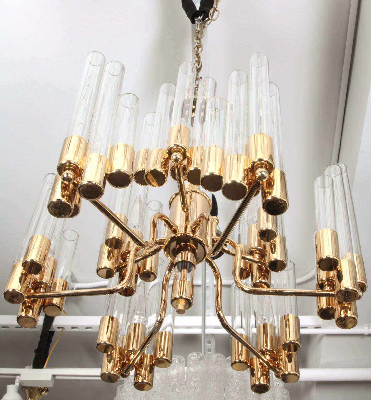 Mid Century 9 Arm Brass & Glass Tube Chandelier by Hans Agne Jakobsson In Excellent Condition For Sale In New York, NY