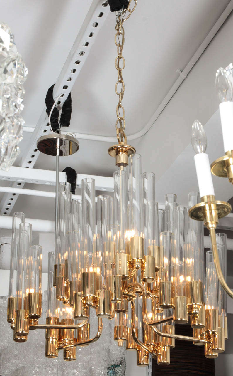 20th Century Mid Century 9 Arm Brass & Glass Tube Chandelier by Hans Agne Jakobsson For Sale