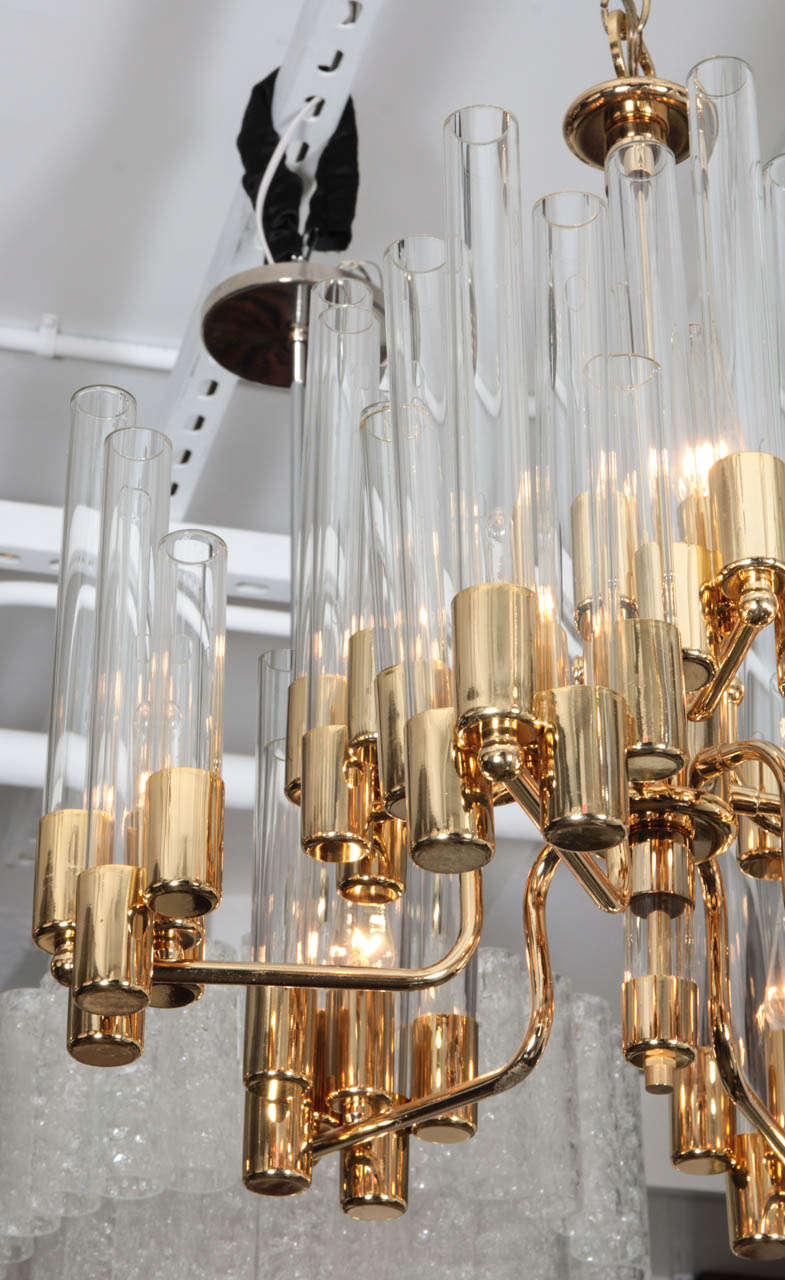 Mid Century 9 Arm Brass & Glass Tube Chandelier by Hans Agne Jakobsson For Sale 1