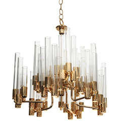 Mid Century 9 Arm Brass & Glass Tube Chandelier by Hans Agne Jakobsson