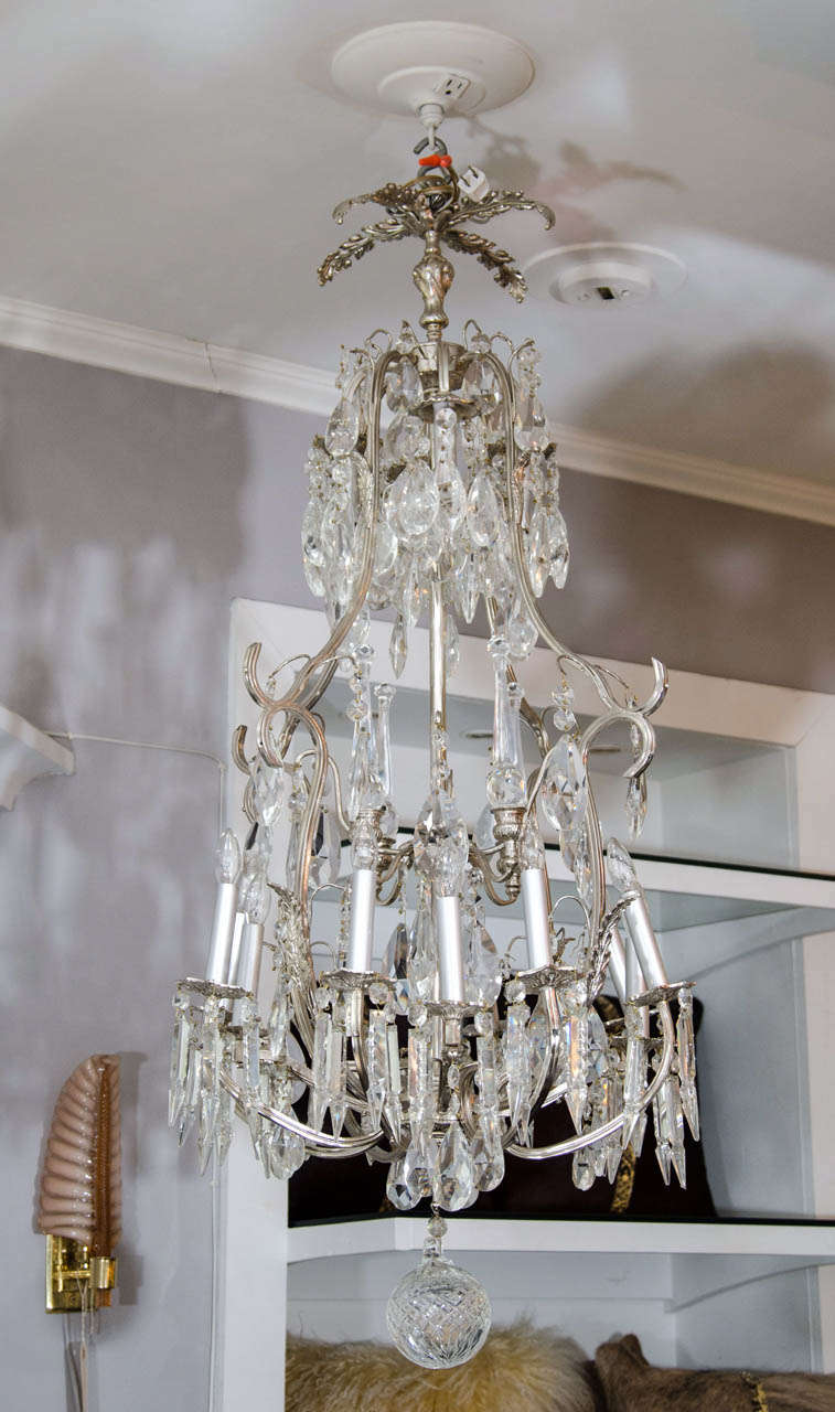 20th century French crystal and nickel-plated fixture.