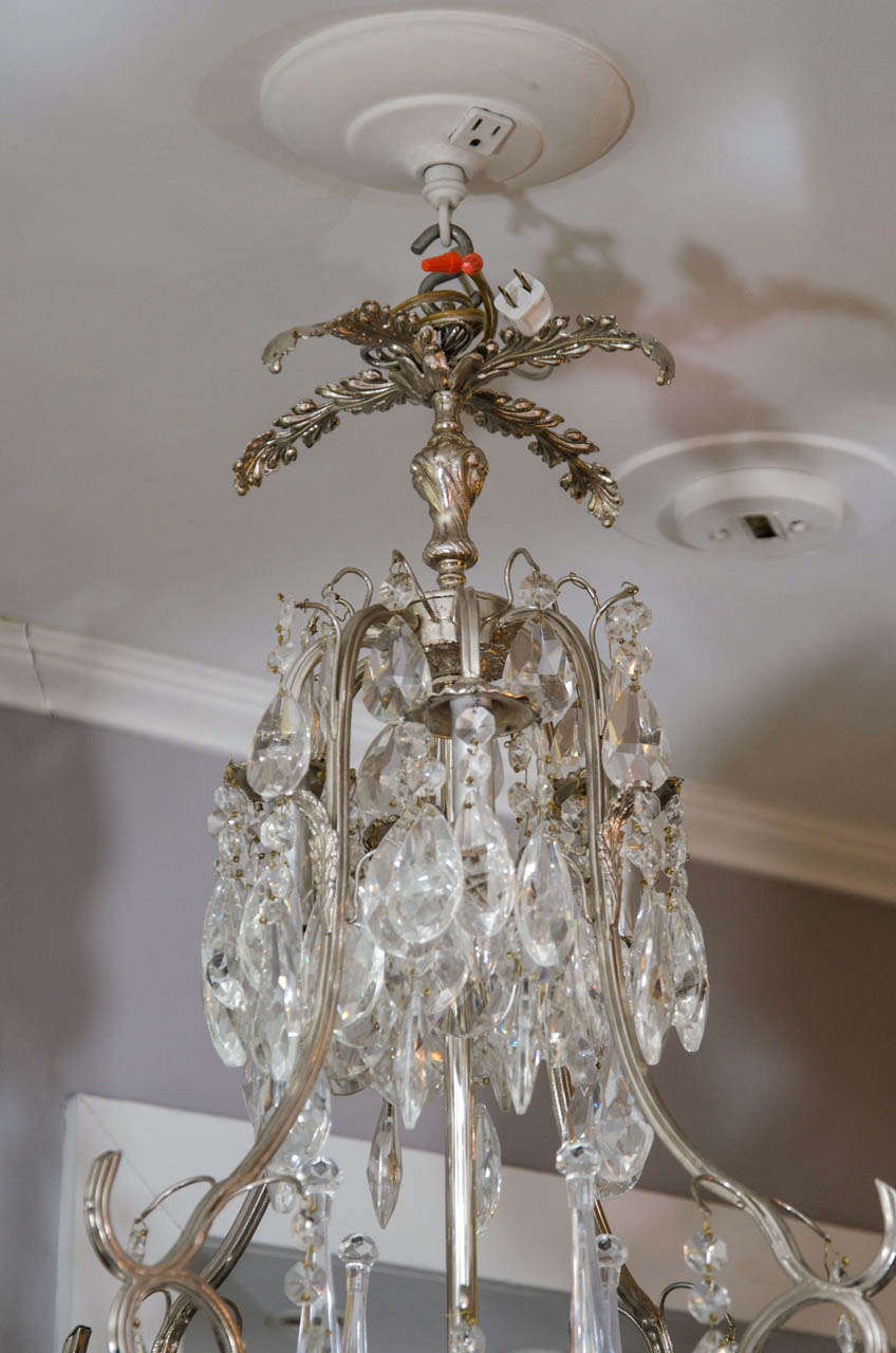 20th Century French Crystal and Nickel-Plated Fixture For Sale 1