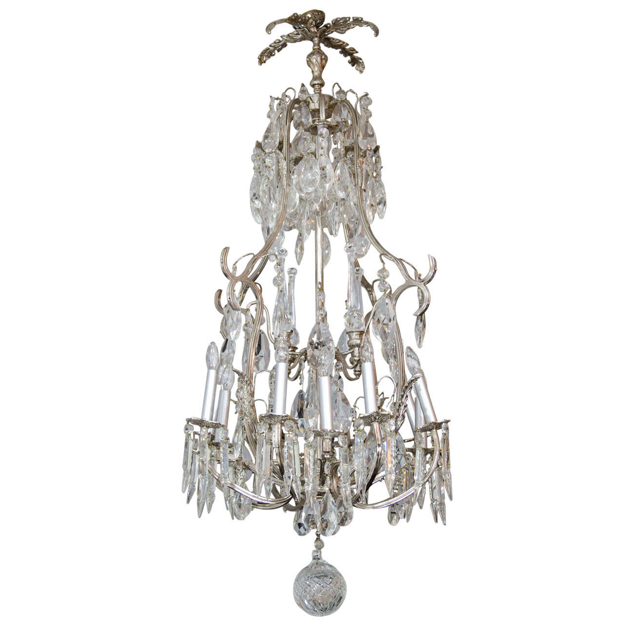 20th Century French Crystal and Nickel-Plated Fixture For Sale