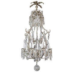 20th Century French Crystal and Nickel-Plated Fixture