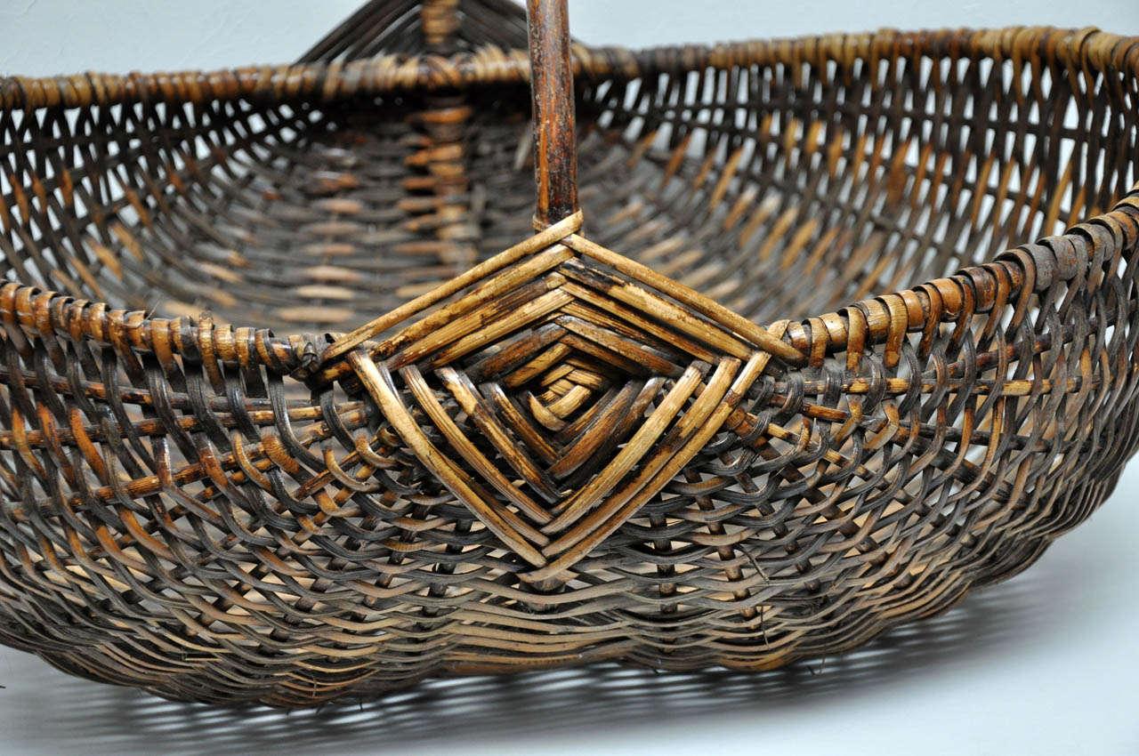 Hand Woven Basket at 1stdibs