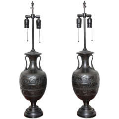 A Pair of Bronze Assyrian Vases Mounted as Lamps