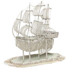 A French Crystal Beaded Galleon