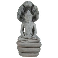 Late 19th century Carve Stone Cambodian Buddha