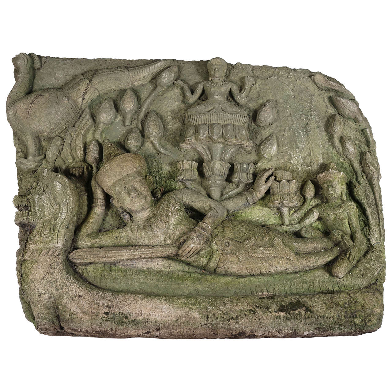 Late th century siamese stone relief temple carving for