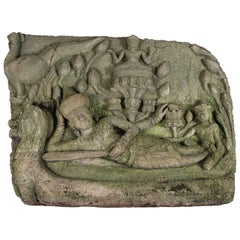 Late 19th Century Siamese Stone Relief Temple Carving
