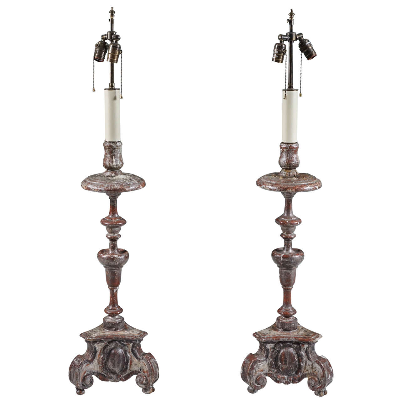 Pair of Silver Gilt Baroque Carved Wood Candlestick Lamps For Sale ...