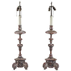 Pair of Silver Gilt Baroque Carved Wood Candlestick Lamps